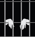 Prisoner behind bars vector image
