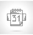 Calendar black flat line icon vector image