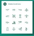 16 aircraft icons vector image vector image