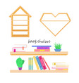 a set of bookshelves and books vector image