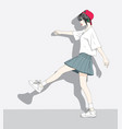 a woman wearing a short skirt walks in the city vector image