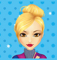avatar cute blond girl vector image