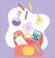 back to school backpack calculator scissors test vector image vector image