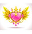 beautiful precious crystal heart icon vector image vector image