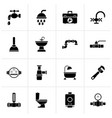 black plumbing objects and tools equipment icons vector image vector image