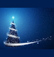 blue christmas tree blizzard snowflakes stars vector image