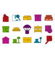boxes icon set color outline style vector image