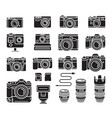 camera black icons set vector image vector image