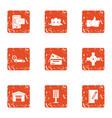 car money icons set grunge style vector image