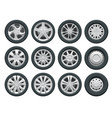 car wheels set for design auto service shop vector image vector image