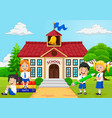 cartoon group of elementary school kids in the sch vector image