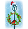 Christmas lantern with Santa Claus hat vector image