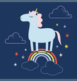cute magical unicorn and rainbow vector image