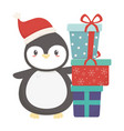 cute penguin with pile gifts celebration merry vector image