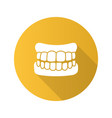 dentures flat design long shadow glyph icon vector image