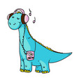 dinosaur music lover isolated on white background vector image