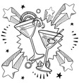 doodle pop martini vector image vector image