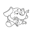elephant my foot in my mouth cartoon vector image vector image