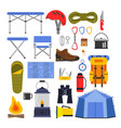equipment for hiking and climbing camping or vector image vector image