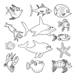 Family of funny fish vector image vector image