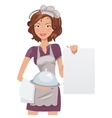Female chef with menu vector image vector image