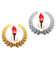 Flaming torch in golden and silver laurel vector image vector image