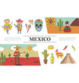 flat mexico composition vector image vector image