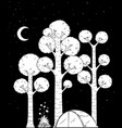 forest camp black and white vector image