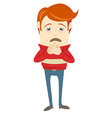 Frustrated hipster character with a sore throat vector image vector image