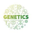 genetics round biology green outline vector image vector image
