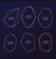 gold collection of geometrical polyhedron art vector image