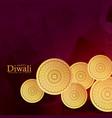 golden coins decoration for diwali festival vector image vector image