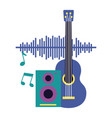 guitar speaker notes music festival on white vector image