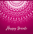 happy diwali greeting card with shine rangoli vector image vector image