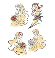 Happy outline brides with lush bouquets vector image vector image