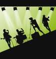 hard rock band silhouette on stage action angle vector image