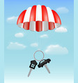 house and car key with parachute on sky background vector image