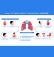 infographics symptoms coronavirus covid-19 vector image