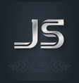 j and s initial silver logo js - metallic 3d icon vector image vector image