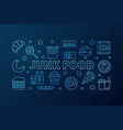 junk food blue horizontal banner vector image