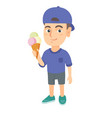 little caucasian boy holding an ice cream cone vector image vector image