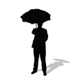 man with umbrella silhouette vector image vector image
