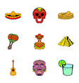 mexican culture icons set cartoon style vector image vector image