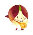 Onion character in boots and sombrero playing vector image vector image