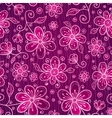 Pink doodle flowers seamless pattern vector image vector image