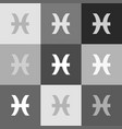 pisces sign grayscale vector image vector image