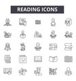 reading line icons signs set outline vector image
