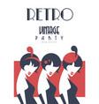 retro vintage party logo design template vector image vector image