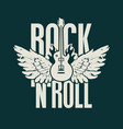 rock and roll music banner with guitar and wings vector image