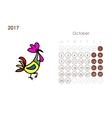 Rooster calendar 2017 for your design October vector image